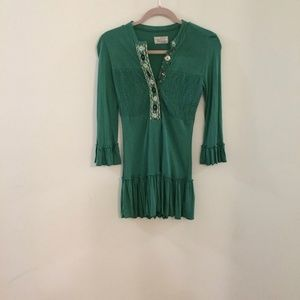 FREE PEOPLE green boho embroidered ruched tunic
